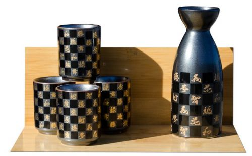 Chequered Sake set metallic black - Japanese 4 cups